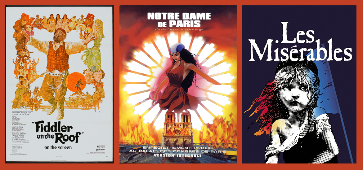 Fiddler on the Roof, Les Miserables, Notre Dame de Paris müzikallerinin afişleri